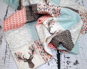 Woodland Baby Quilt, Deer, Arrows, Buck Heads, Feathers, Patchwork Baby Girl Quilt, Pink Gray Aqua Bedding, Woodland Nursery, Minky Quilt