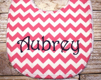 Personalized Baby Bib - Baby Girl or Baby Boy - Completely Adjustable and Reversible Baby Bib