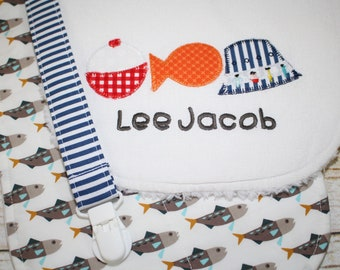 Personalized Baby Boy Gift Set, Gone Fishing, Fish, Bobber, Hat, Applique Bib, Burp Cloth, Pacifier Clip - Infant Gift Set, Baby Shower Gift