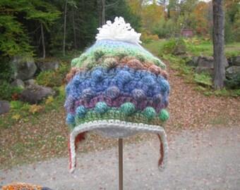 Child Bobble Poof Earflap Hat