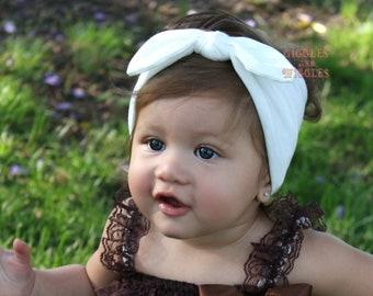 Baby top knot headbands, baby headwrap, cream knot tie headband, baby head wrap, cream headbands, infant headbands, fall headbands