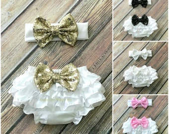 Baby girl clothes, white ruffle bloomers, baby diaper cover, newborn girl outfit, cake smash outfit, baby girl headband, infant head wrap