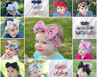 Baby head wrap, baby bow headbands, 16 colors, 1st birthday, infant headbands, big bows, polka dot headband, floral bow, easter headband