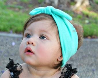 Aqua knot tie headband, top knot, baby head wrap, aqua green headbands, infant girl, 1st birthday, baby shower gift, baby girl headband