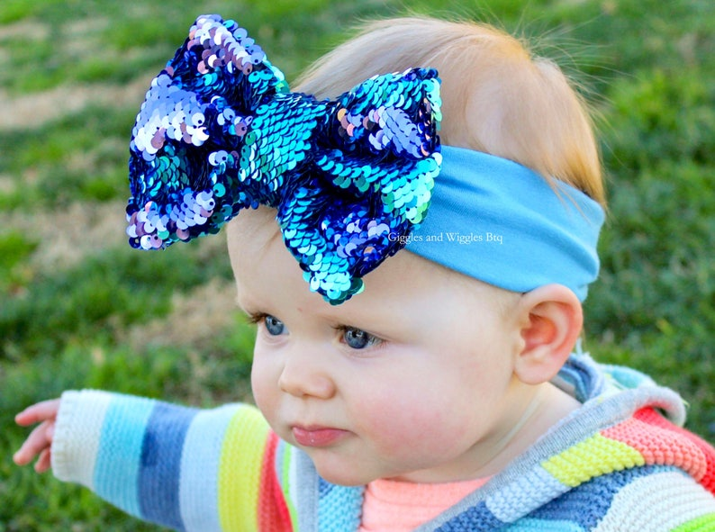 big bows reversible sequin purple and blue two toned sparkle bow green and black Baby headbands mermaid birthday flip sequin bows