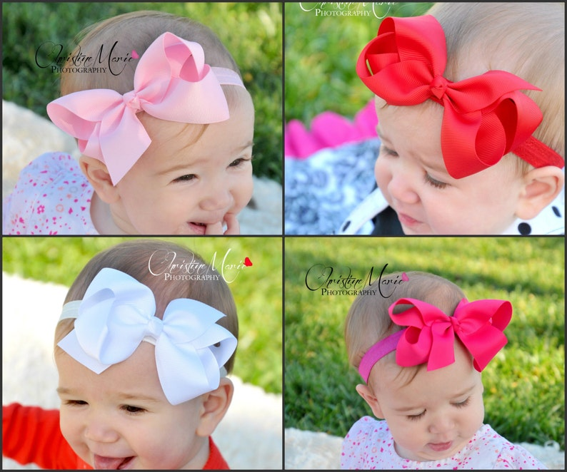 0ade36f924de7 Baby girl headbands, pink white red or hot pink bow, spring baby headband,  bow on clip, newborn headbands, baby bows, infant headbands