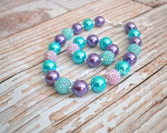 Baby necklace, Lavender purple aqua, baby bracelet, chunky necklace, 1st birthday, infant girl, first easter, blue green, light purple