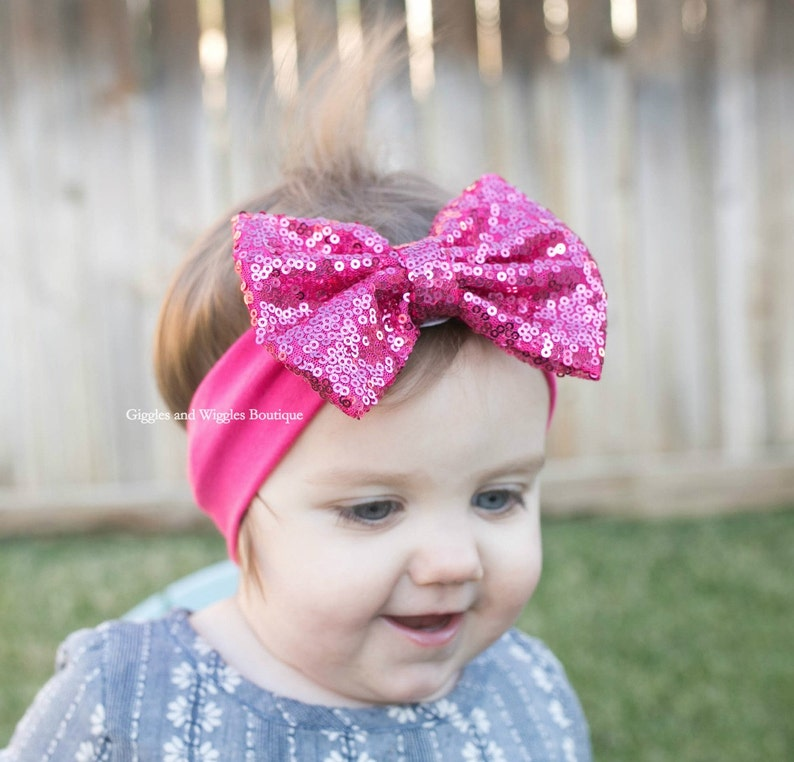 baby first birthday Baby girl headbands infant head wrap sequin bow headband raspberry bow baby head wrap pink baby bow