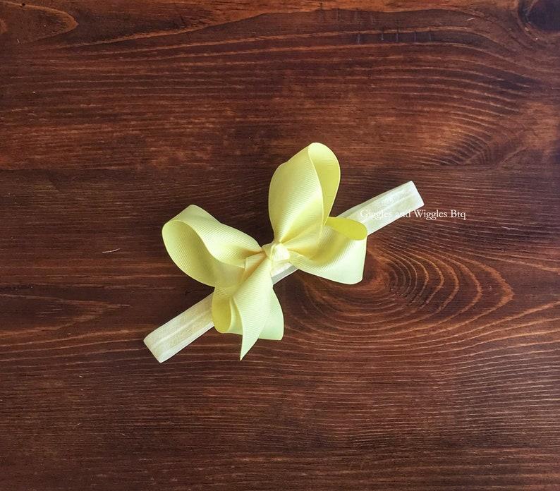 lime green light yellow headbands Baby headbands birthday girl headband infant headband baby bows mint bow headband soft yellow bow