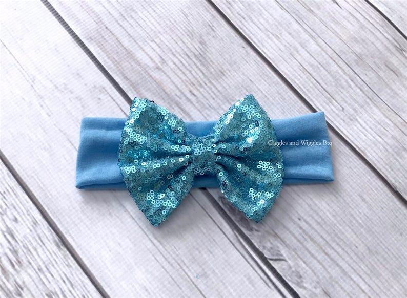 infant headband baby girl headband sparkle bow infant head wrap 1st birthday Baby headbands baby bows blue bow headband