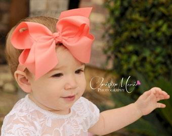 Baby headbands, coral bow headband, baby girl bow clip, girl headband, coral orange headband, baby bow, infant headband, ribbon bow headband