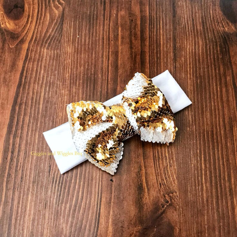 pink and gold white and gold flip sequin bows black and gold 5 inch reversible sequin big bows two toned sparkle bow Baby headbands