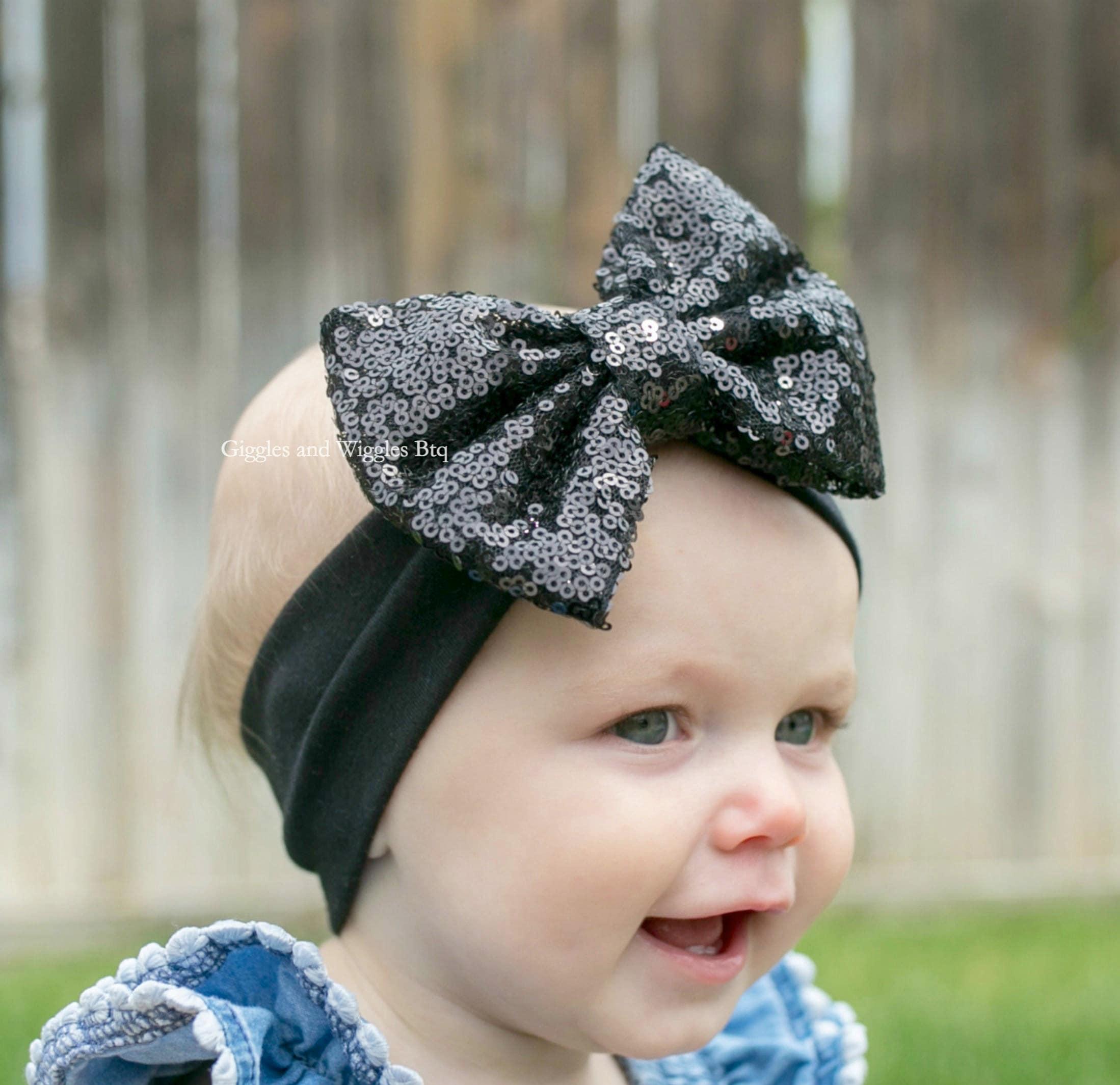 Baby Headbands Black Sequin Bow Infant Headbands Black Bow