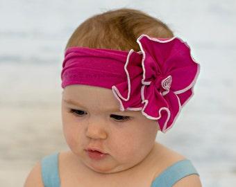 Baby headbands, Raspberry flower headband, baby headband, newborn girl, photo prop, birthday, first birthday, headwrap