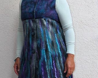 Nuno Felted vest felted vest wool vest  merino wool silk felting art  purple turquoise gray black