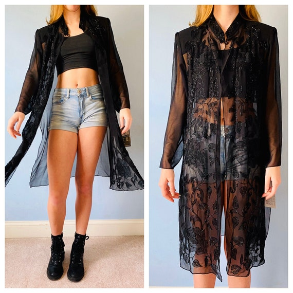 NWT Vintage 80s black sheer tunic dress / beach co