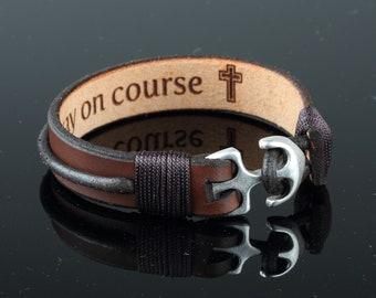 Leather men bracelet Black Brown leather bracelet Gift ideas for him Anniversary gift Casual bracelet Husband gift ideas