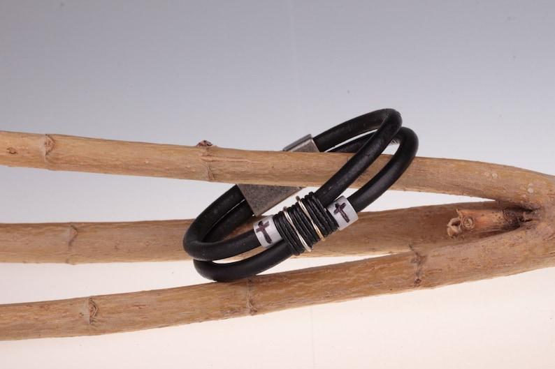 Easter Gift for Boyfriend Mens Cross Bracelet Gift for Husband Leather Cross Bracelet Mens Leather Bracelet Personalized Bracelet