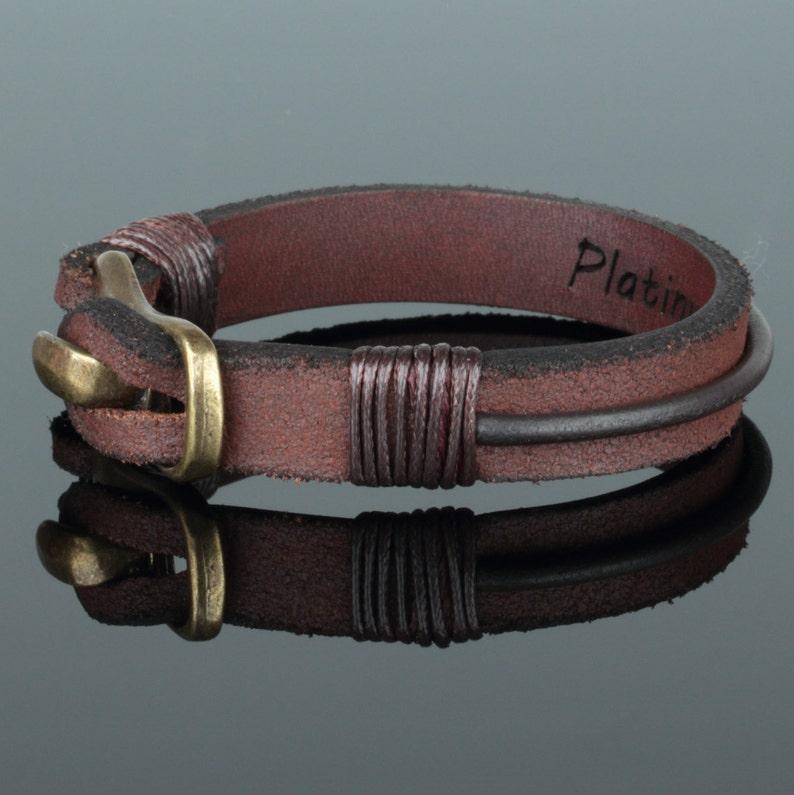 Engraved Leather Wristband For Dad Model#1106 Men Leather Bracelet Valentines Day Gift Bracelet For Husband Custom Men Cuff Bracelet