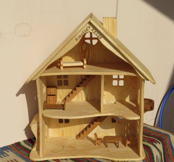 Handmade Wooden Dollhouse Natural Wooden Dollhouse Waldorf Etsy