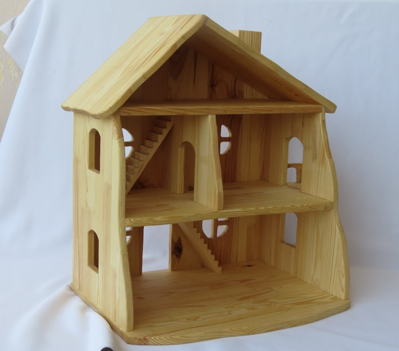 Handmade  organic wooden dollhouse Dollhouse kit Wood Dollhouse only