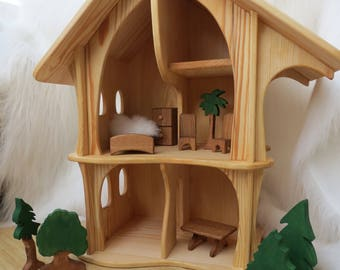 Handmade wooden dollhouse organic / Natural Wooden Dollhouse Waldorf , Dollhouse kit , Wood dollhouse , Montessori , Handcrafted Toy , Toys