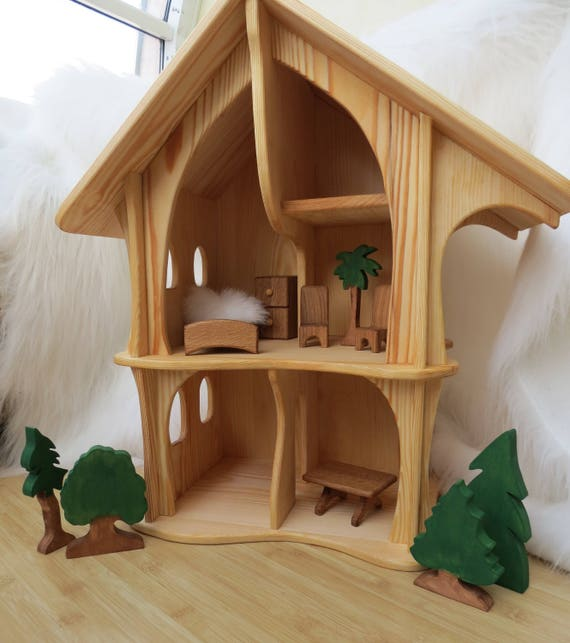 Handmade Wooden Dollhouse Organic Natural Wooden Dollhouse Etsy