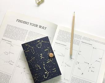 GOLD FOIL Constellation  notebook, Star notebook, Indigo Sketchbook, Space notebook, A5 A6 notebook