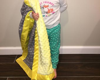 Custom Minky Satin Baby Toddler Blanket