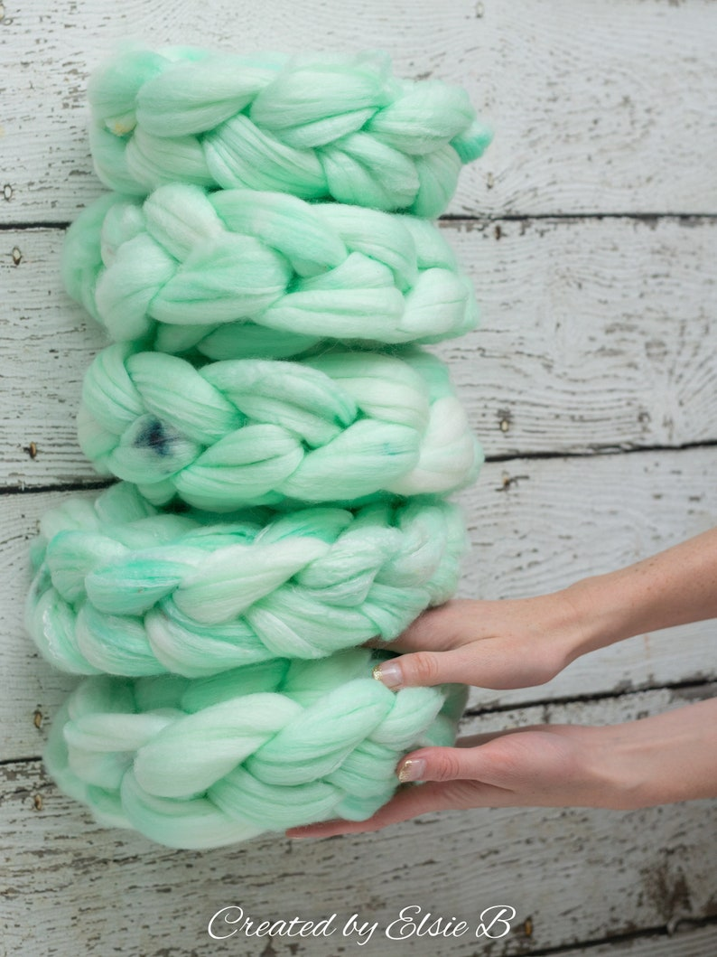 SW Merino Bamboo Nylon /'Peppermint Mousse/' 4 oz semi-solid mint superwash roving merino wool combed top roving for spinning by the pound