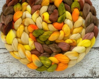 DYED TO ORDER 'Autumn Harvest' 4 oz combed top for spinning, Created by ElsieB brown wool fiber, yellow wool by the pound, hand dyed roving