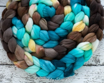 DYED TO ORDER 'Bahama Breeze' 4 oz combed top for spinning, Created by ElsieB teal blue wool fiber, brown wool for felting, hand dyed roving