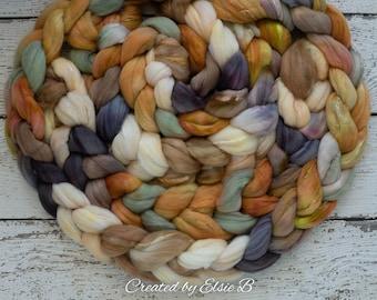 Superfine Merino/ Silk 'Fox Den' 4 oz brown hand dyed roving, CreatedbyElsieB spinning fiber, gray combed top, mint wool roving for spinning