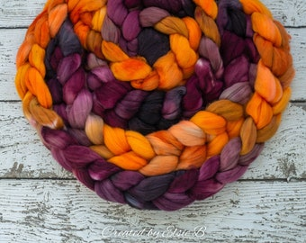 DYED TO ORDER 'Autumn Mum' 4 oz combed top for spinning, CreatedbyElsieB brown wool fiber, orange wool by the pound, black hand dyed roving