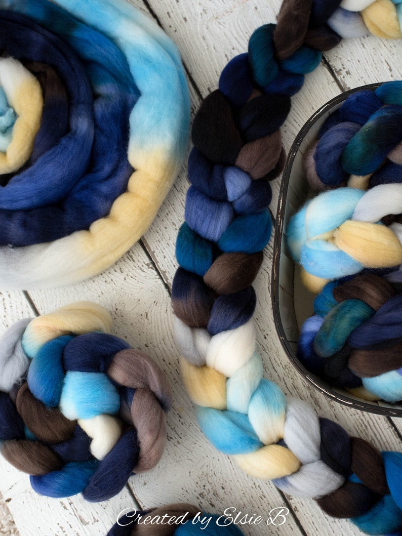 Organic Polwarth /'Sea Storm/' 4 oz blue spinning fiber hand dyed roving brown wool roving for spinning CreatedbyElsieB combed top