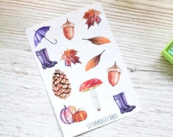Vinyl Small Watercolour Autumn Decorative Stickers; Umbrella Stickers; Acorn Stickers; Pumpkin Stickers; Planner Stickers; Filofax