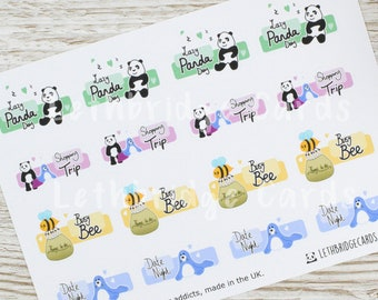 Hand Drawn Character Quarter Boxes; Date Night Stickers; Shopping Stickers; Erin Condren Compatible Planner Stickers; Happy Planner