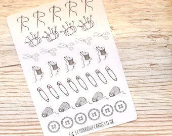 Sewing Stickers; Cross Stitch Reminder; Embroidery Stickers; Planner Stickers; Bullet Journal; Erin Condren Compatible; Needle and thread