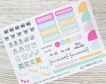 Hobonichi Monthly Planner Stickers; Ice Cream Kit; Monthly Sticker Kit; Hobonichi Techo Cousin Sticker