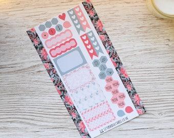 Coral Flower Personal Weekly Kit; Mini Kit; Vinyl Matt; Personal Filofax; Medium Kikki K; Summer Kit; Planner Stickers; TN Kit