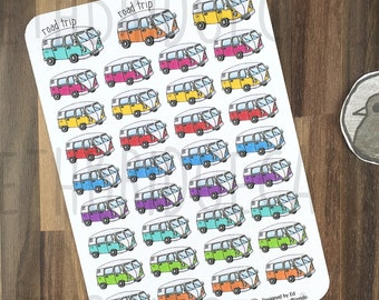 Road Trip Stickers; Hand Drawn Stickers; Camper Van; Travel; Holiday Planning; Planner Stickers; Erin Condren Compatible; Happy Planner