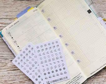 Weather mini Icon Stickers; Hobonichi Stickers; Square stickers; Planner stickers; Sun Stickers; Rain Stickers; Cloud Stickers