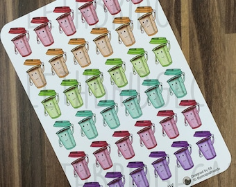 Coffee Cup Stickers; Hand Drawn Stickers; Tea Cup; Takeaway Cup; Planner Stickers; Erin Condren Compatible; Happy Planner; Hobonichi