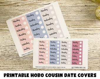 PRINTABLE Date Covers for the Hobonichi Cousin; Daily Pages; Weekly Sticker Kit; Hobonichi Techo Sticker; Hobonichi Stickers; Printable Kit