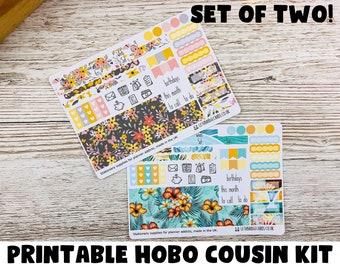 PRINTABLE Yellow & Tropical Hobonichi Cousin Monthly Kits; Weekly Sticker Kit; Hobonichi Techo Sticker; Hobonichi Stickers; Printable Kit