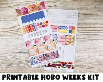 PRINTABLE Spring Flowers Hobonichi Weeks Weekly Kit; Summer Kit; Hobonichi Kit; Hobonichi Stickers; Printable Kit
