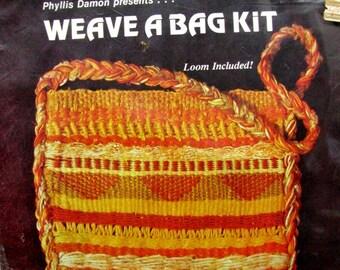 SALE! Shoulder Bag Weaving Kit with Loom Phyllis Damon WEAVE A BAG Hand Woven Yellow Orange Learn to Weave Fiber Art & Craft Ethnic Boho Bag