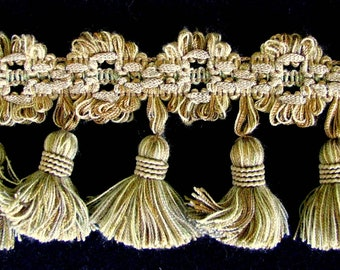"Christopher Lowell Carnation Tassel Fringe Trim 3"" Gold Cream Brown Taupe Fabric Decorating Trim 4 3/4 yds Wrights Fringe Trim Soft & Silky"