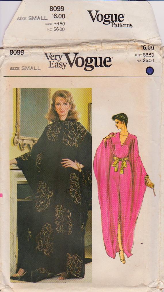 RARE Vogue 8099 Misses\' Vintage 1980s Caftan Evening Dress Sewing ...