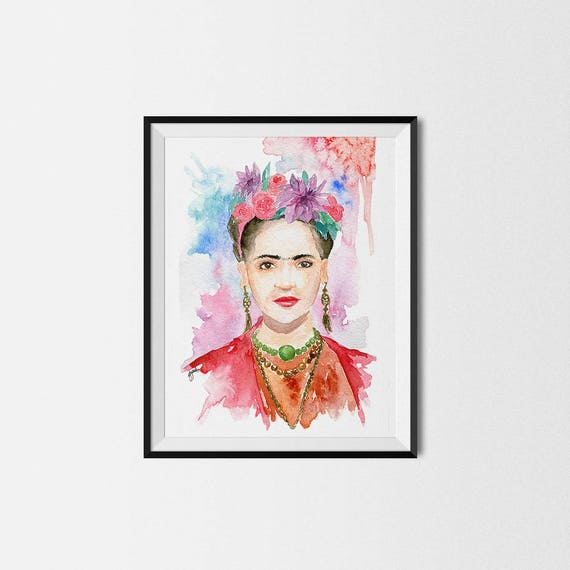 Frida Kahlo with Flowers Watercolor Print Colorful Female | Etsy